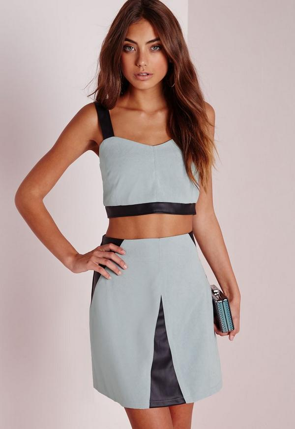 Faux Suede and Leather Contrast Crop Top Blue