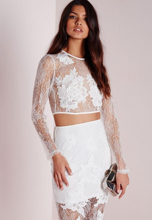 Eyelash Lace Crop Top White