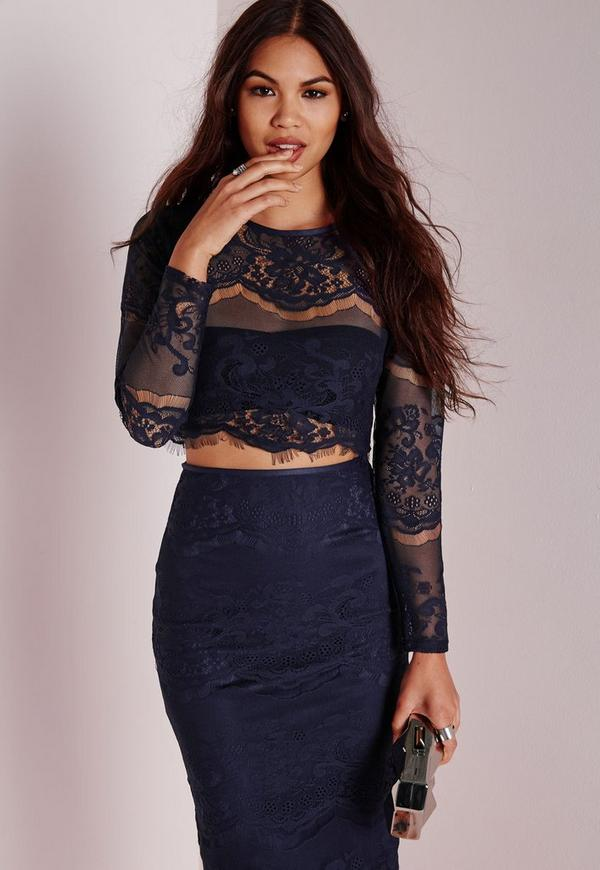 Lace Long Sleeve Scalloped Crop Top Navy