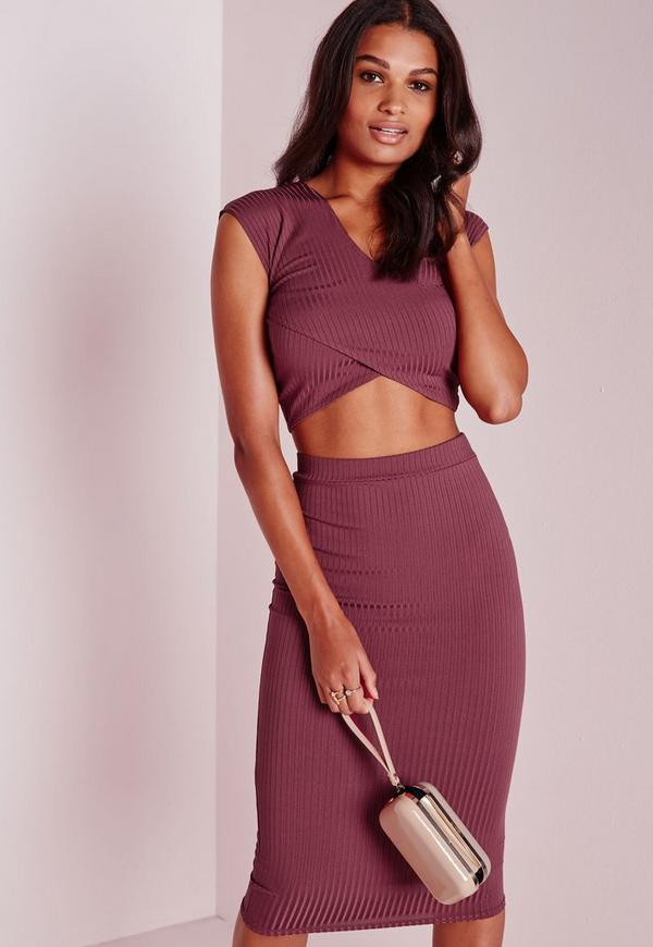 Ribbed Wrap Crop Top Berry