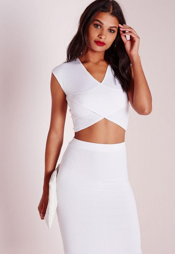 Ribbed Wrap Crop Top White