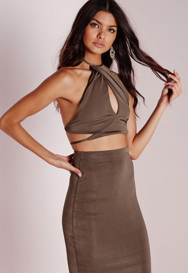 Slinky High Neck Wrap Front Crop Top Taupe