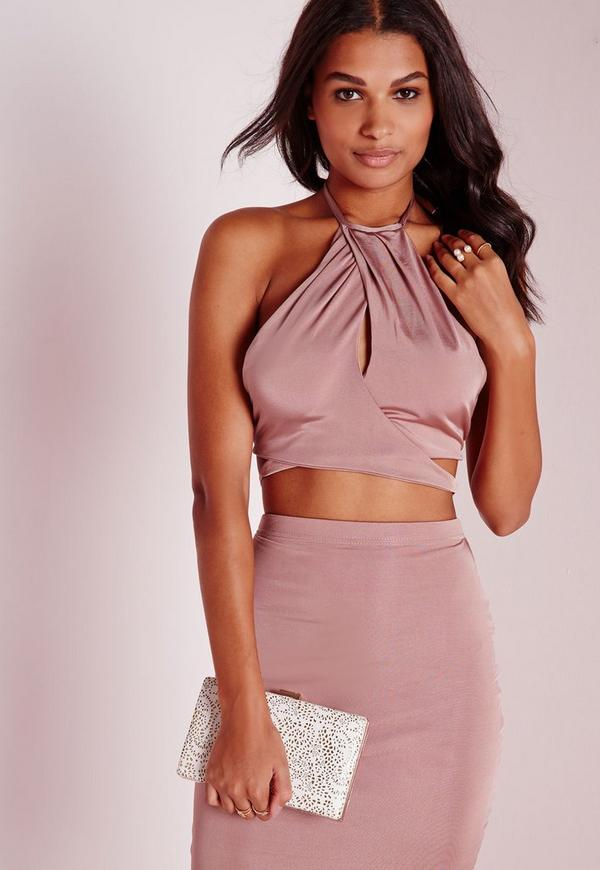 Slinky High Neck Keyhole Wrap Front Crop Top Pink