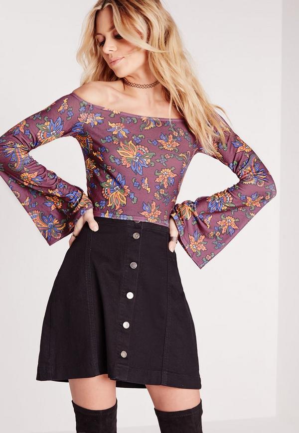 Floral Print Bell Sleeve Bardot Crop Top Purple