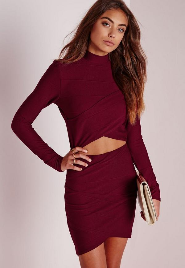 Wrap Long Sleeve Bandage Crop Top Burgundy