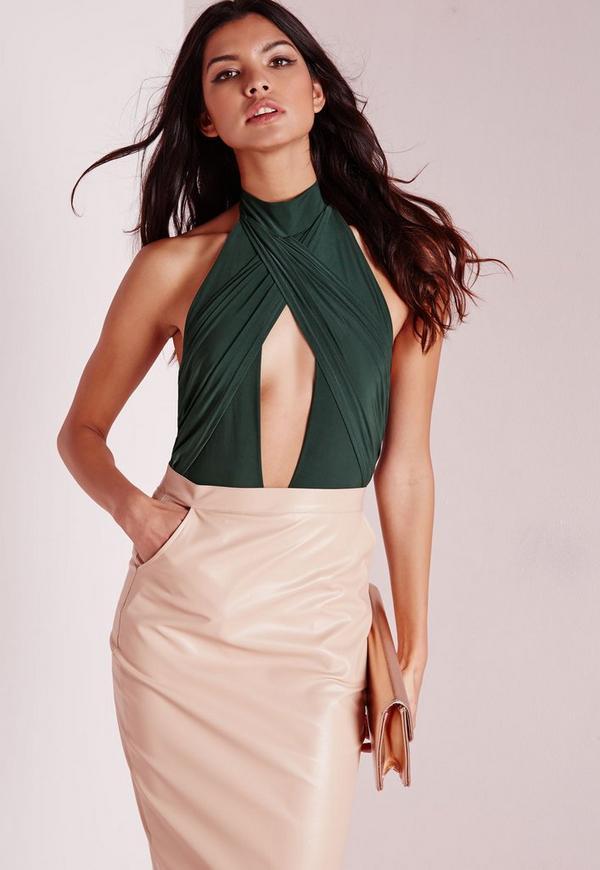 Wrap Halterneck Slinky Bodysuit Green