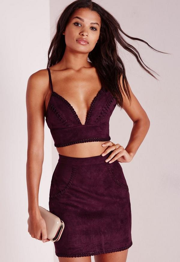 Faux Suede Bralet Purple