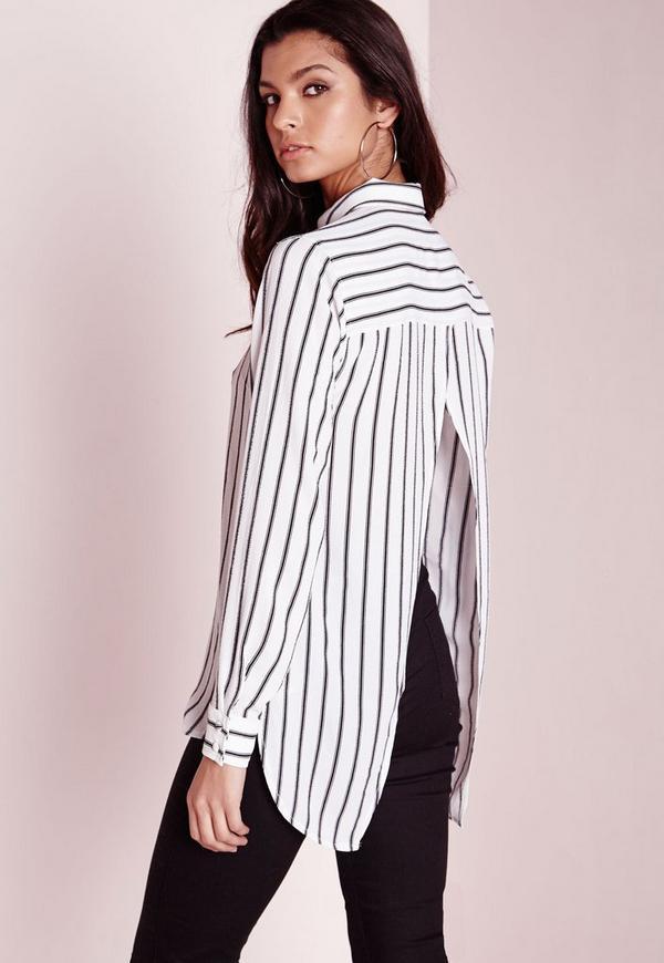 Stripe Open Back Shirt