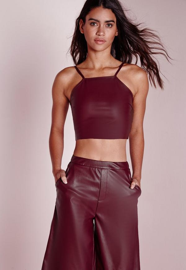 Faux Leather Crop Top Burgundy