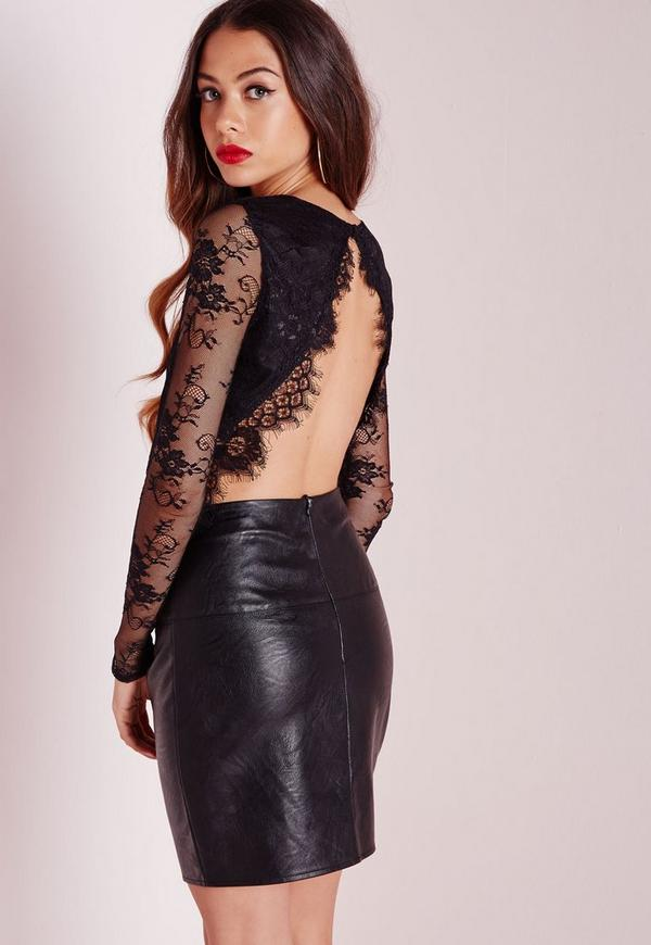 Open Back Lace Crop Top Black