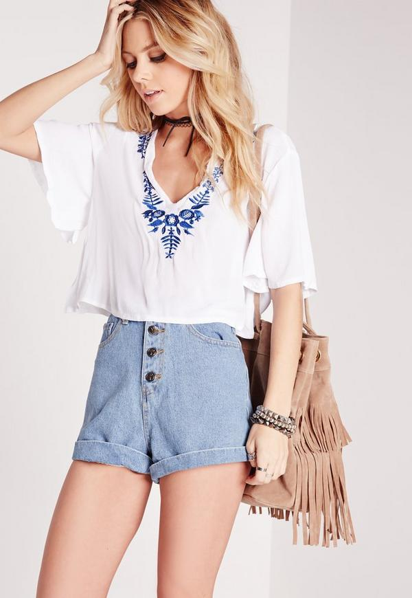 Muslin Blue Embroidered Shell Top White