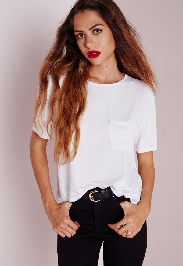 Basic One Pocket T Shirt White
