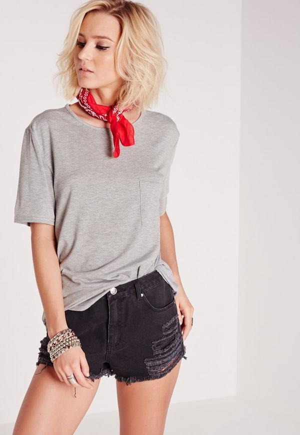 basic one pocket t shirt grey missguided. Black Bedroom Furniture Sets. Home Design Ideas