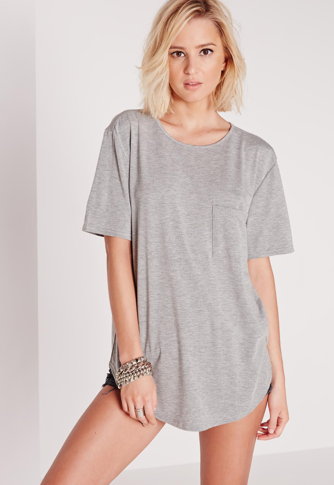 Basic One Pocket T Shirt Grey