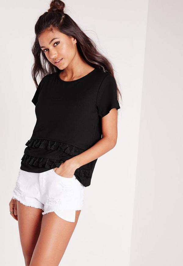 Tassel Hem T-Shirt Black