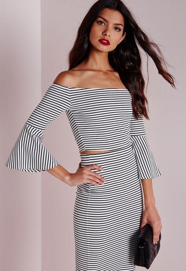 Stripe Bell Sleeve Crop Top White