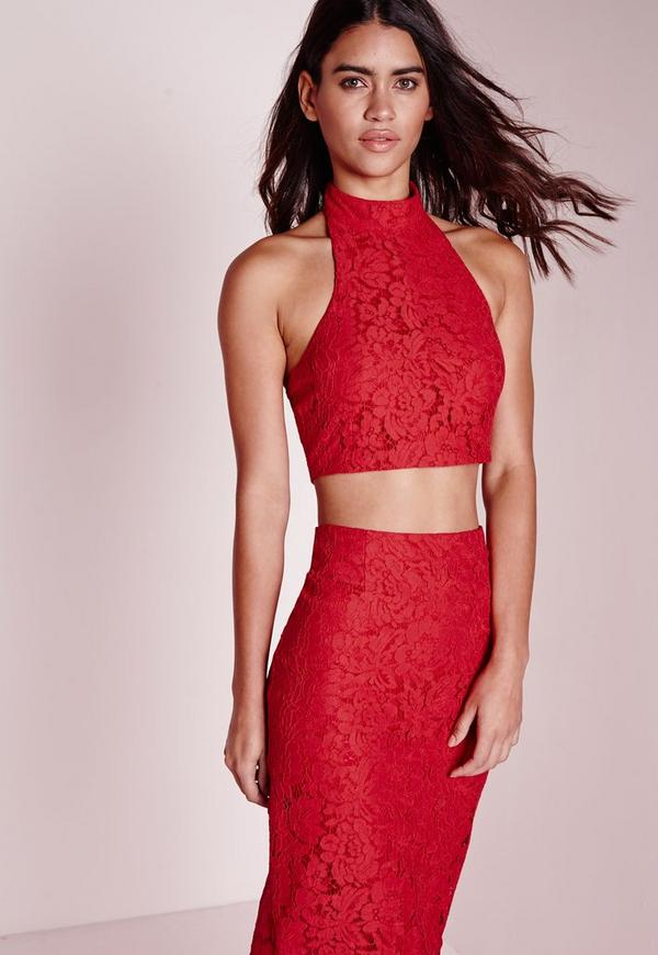 Choker Lace Halter Top Red