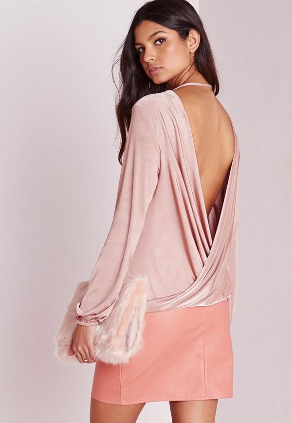 Long Sleeve Wrap Back Slinky Tunic Pink