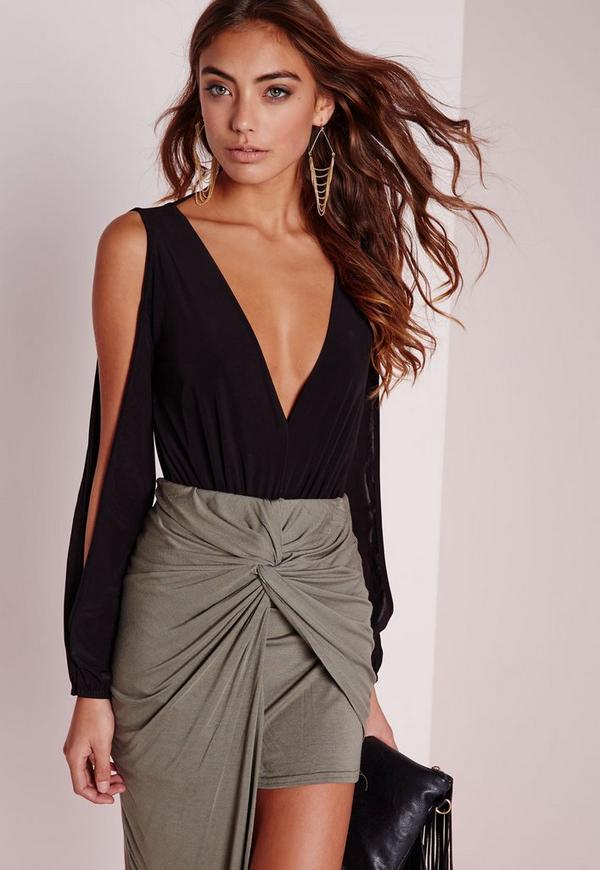 Open Sleeve Bodysuit Black