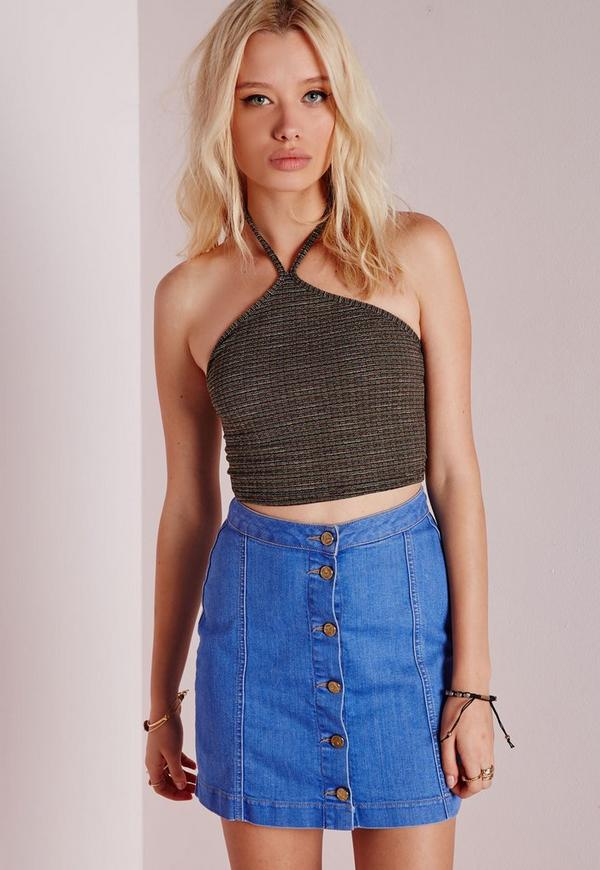 Knitted Triangle Neck Crop Top Khaki