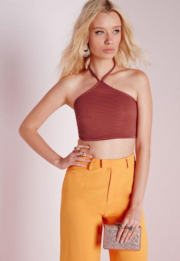 Honeycomb Jacquard Triangle Neck Crop Top Rust