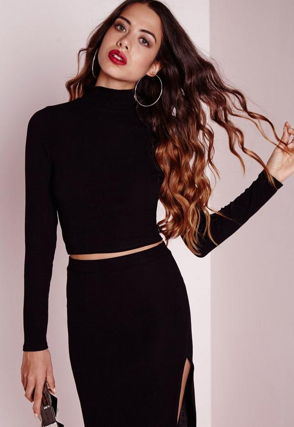 High Neck Long Sleeve Ribbed Crop Top Black