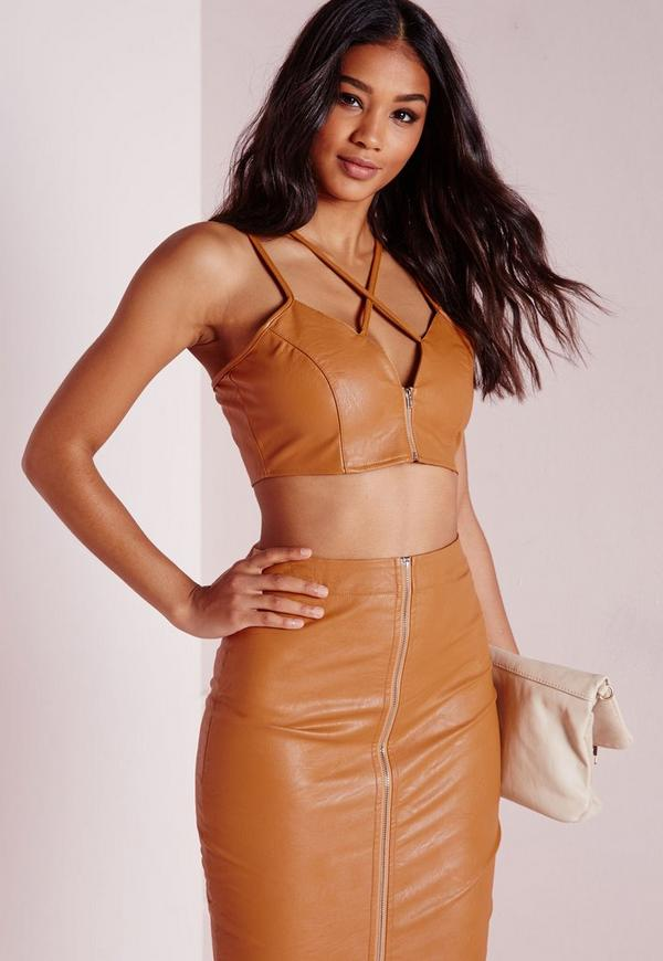 Faux Leather Zip Front Strappy Bralet Mustard