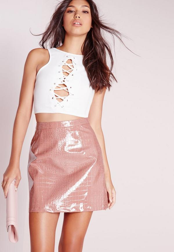 Lace Up Front Crop Top White