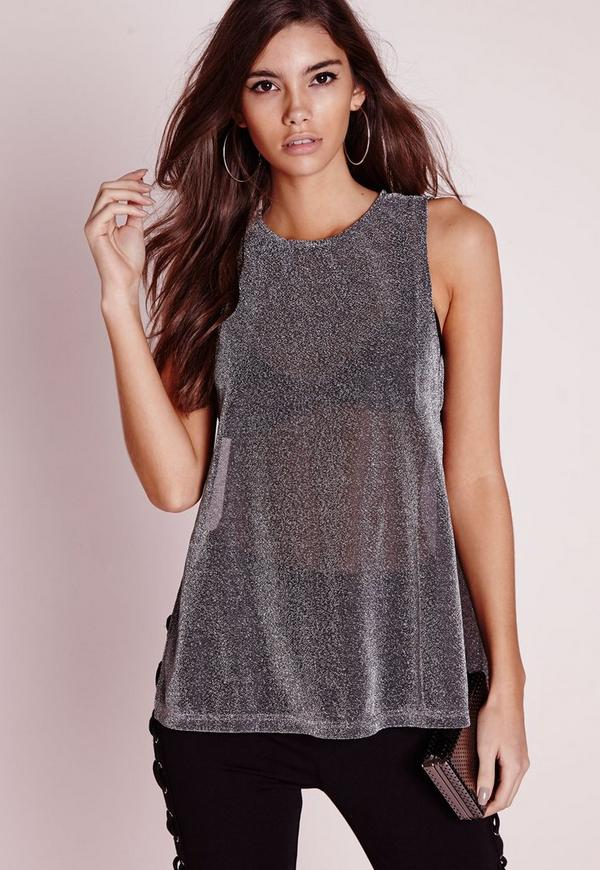 Tab Side Tunic Top Silver
