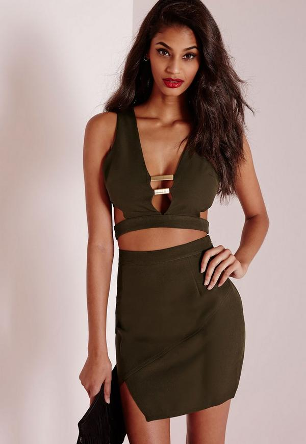 Metal Detail Crop Top Khaki