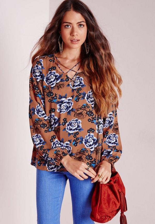 Lattice Front Blouse Print