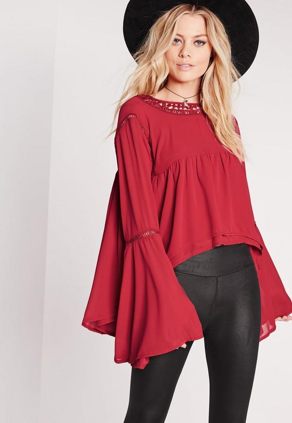 High Neck Peasant Blouse Burgundy