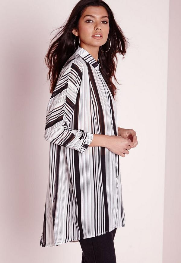 Striped Long Line Wrap Back Blouse
