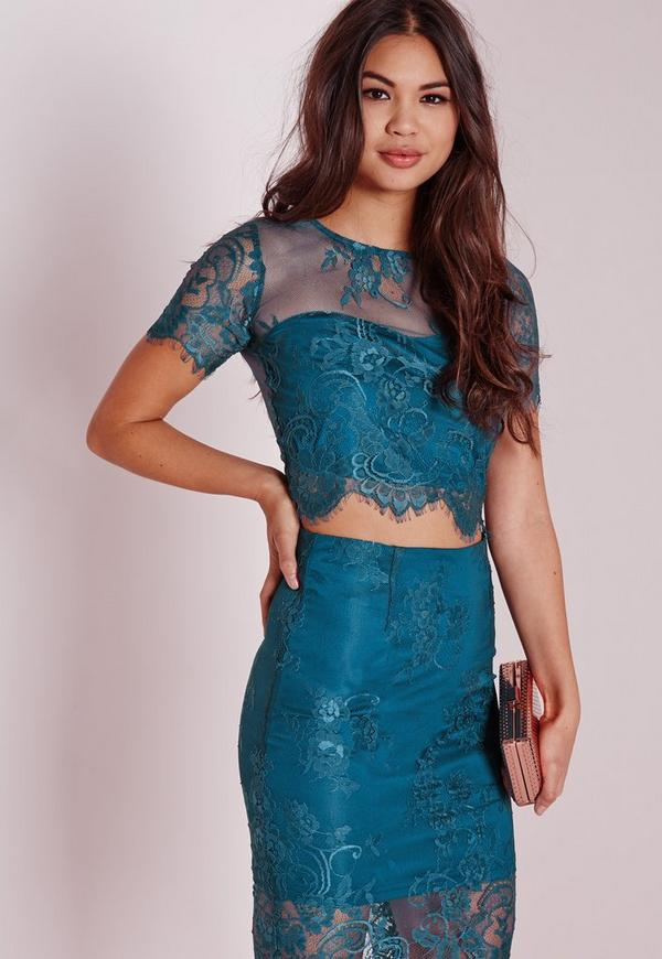 Crop Lace Top Teal