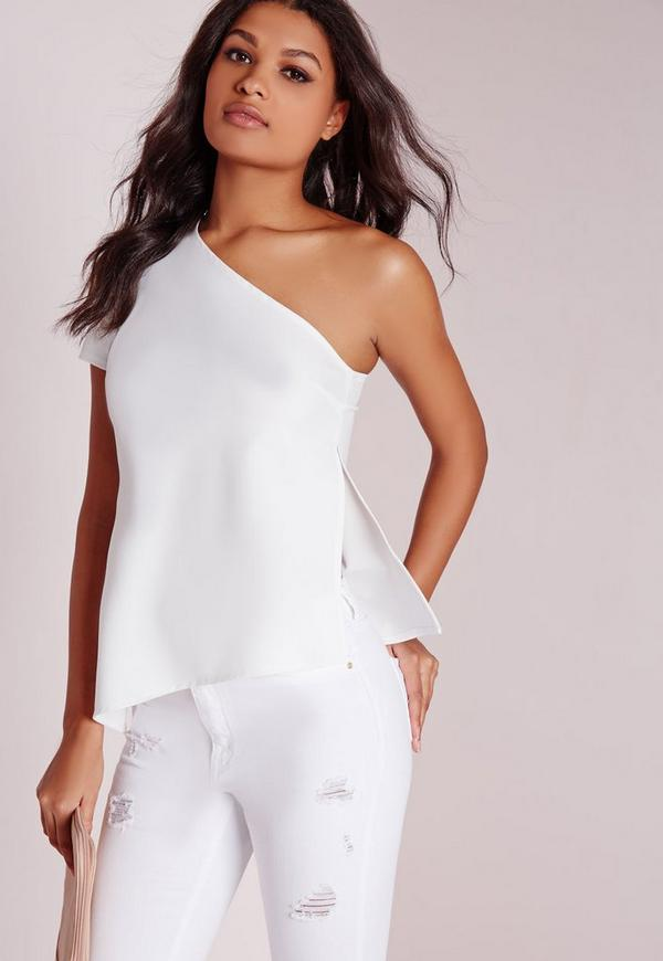 Asymmetric One Shoulder Top White