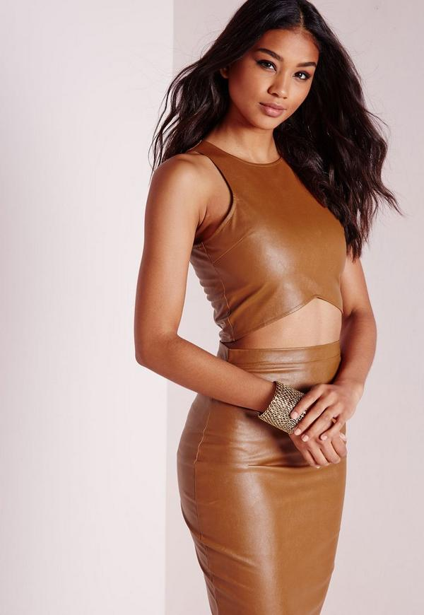 Faux Leather Crop Top Tan