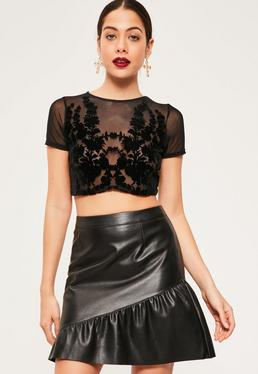 Flock Detail Mesh Crop Top Black