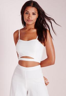 Crepe Cut Out Bralette Top White