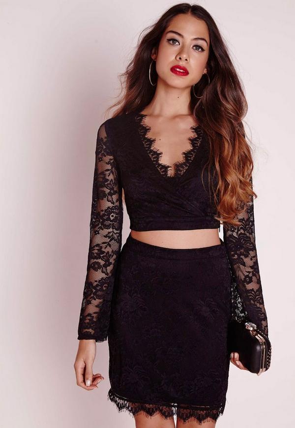Eyelash Lace Wrap Crop Top Black