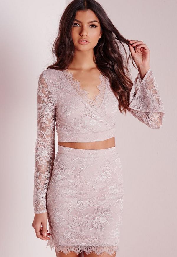Eyelash Lace Wrap Crop Top Pink