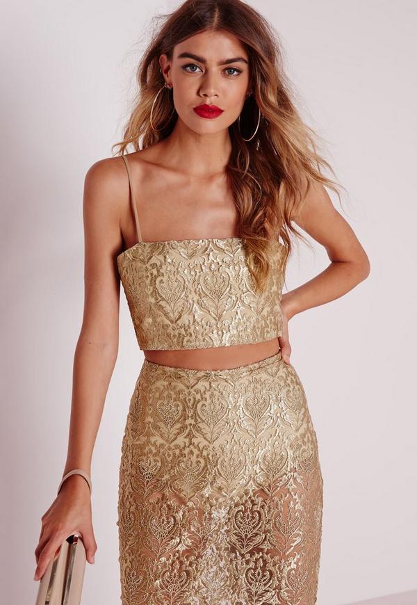 Brocade Organza Lace Bralet Gold