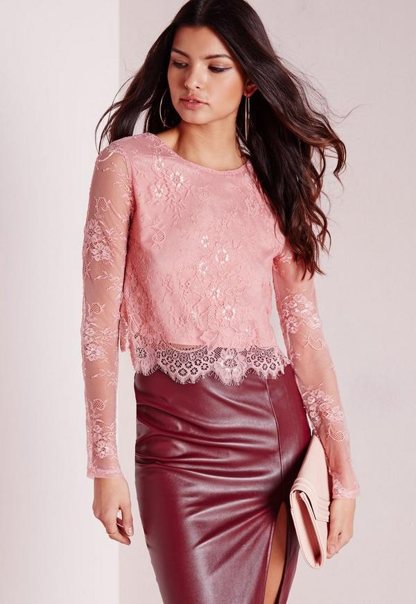 Open Back Lace Crop Top Pink