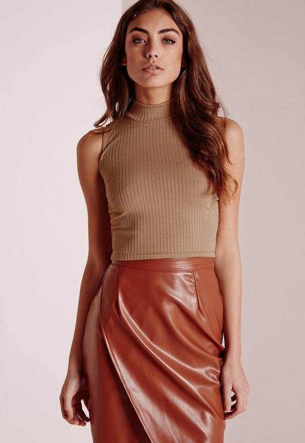 Ribbed High Neck Crop Top Camel