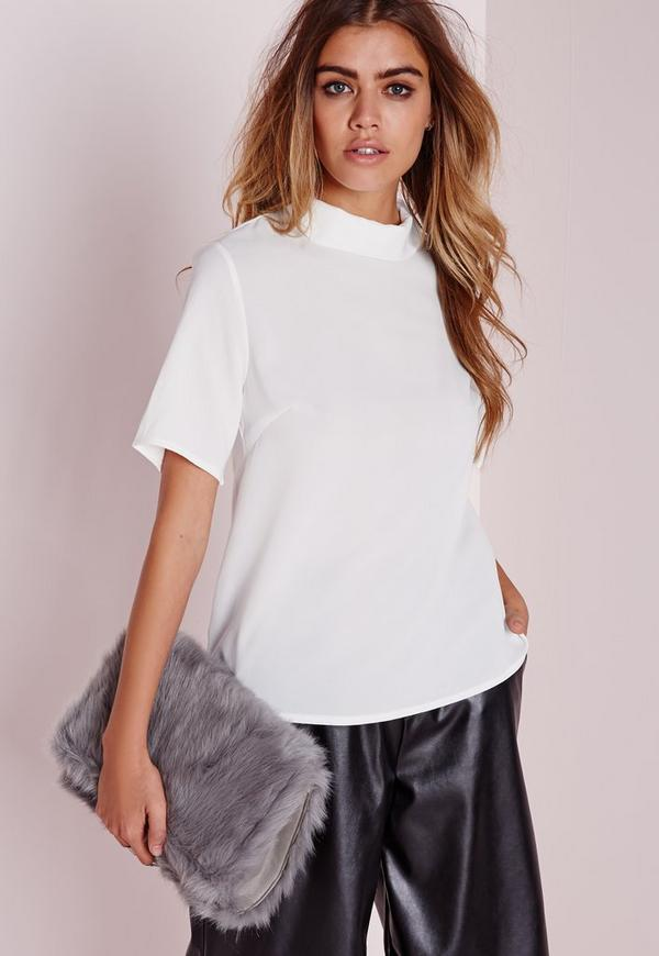 Roll Neck Blouse White