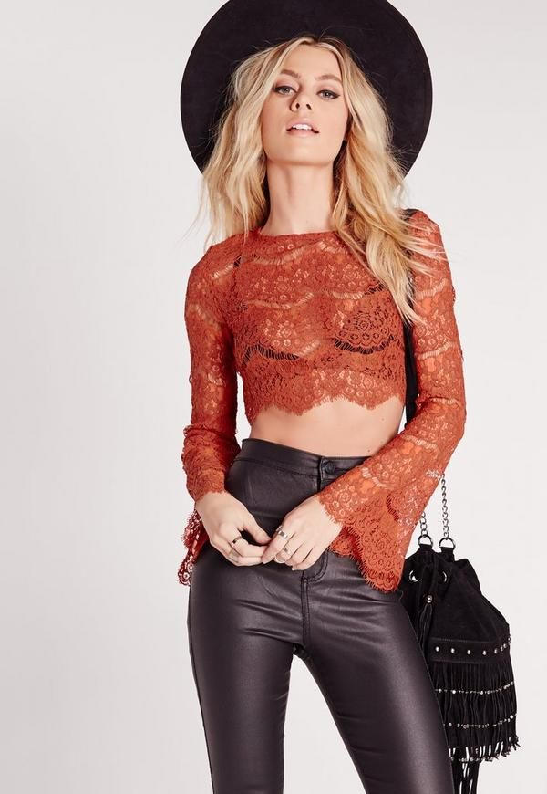 Lace Bell Sleeve Crop Top Rust