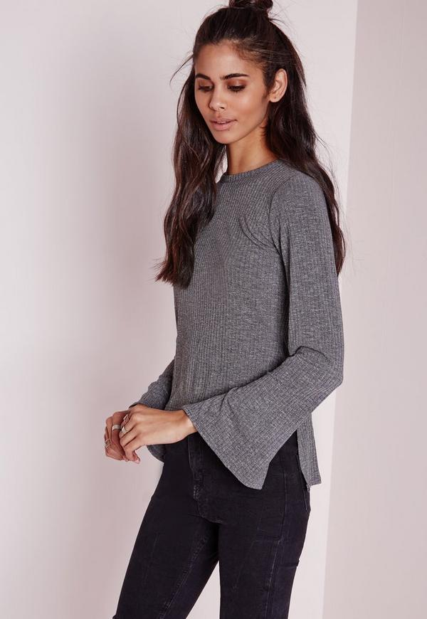 Ribbed Longline Bell Sleeve Top Grey