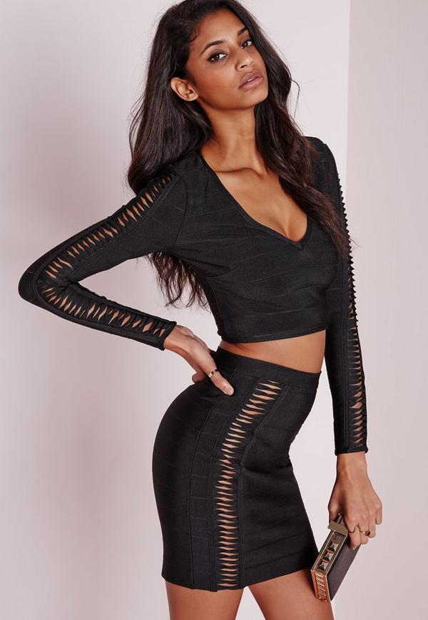Bandage Twist Detail Crop Top Black