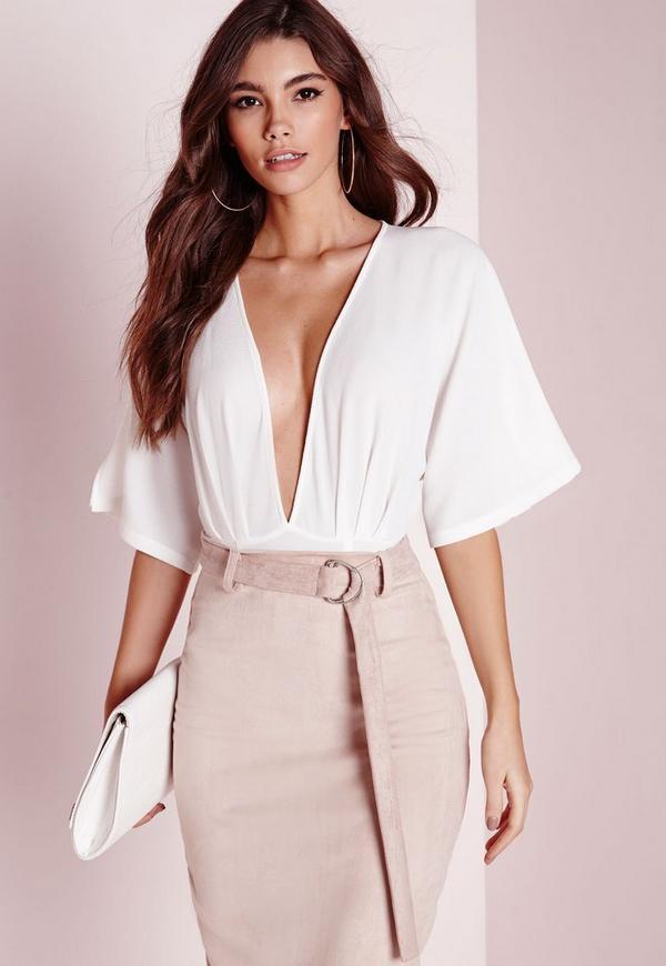 Kimono Sleeve Bodysuit White