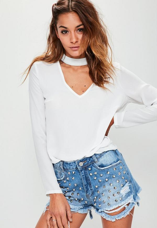Choker Plunge Cut Out Blouse White-16