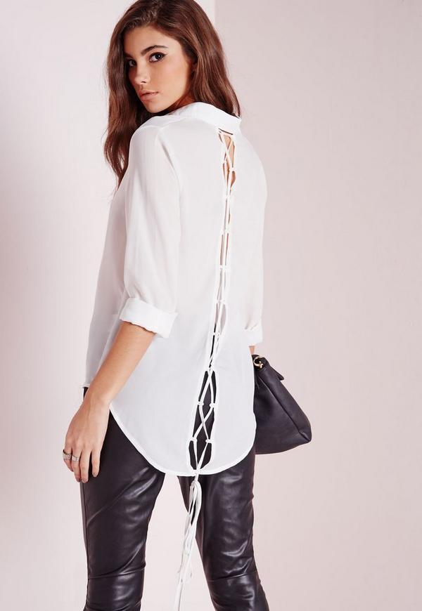 Lace Up Back Shirt White